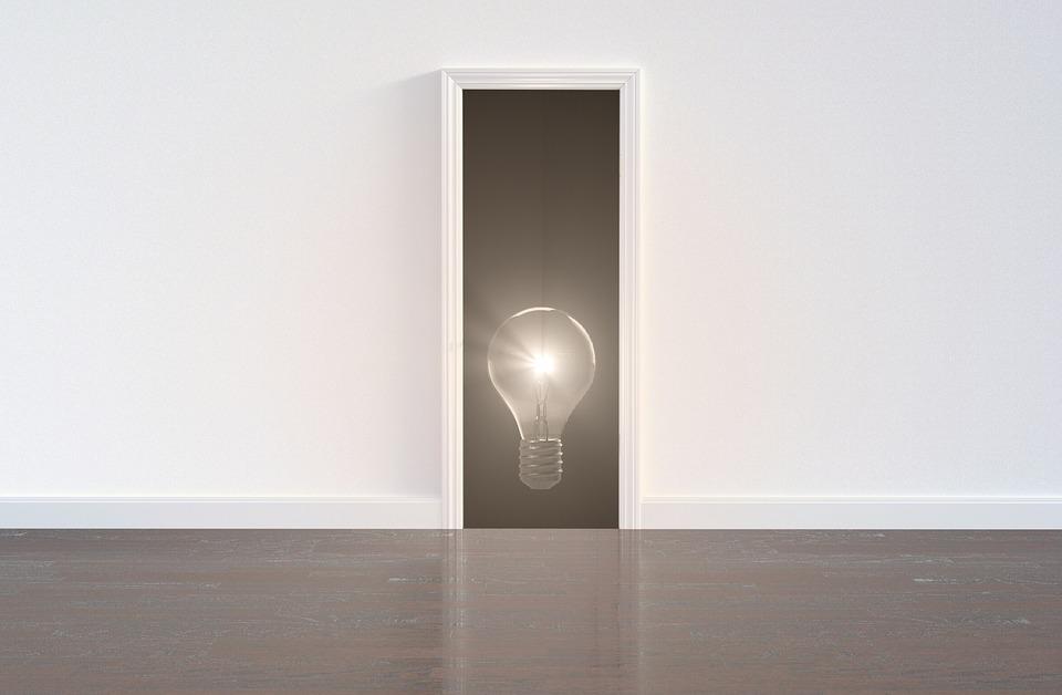 žiarovka, nápad, dvere
